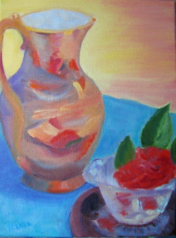 still life camilia brass vase