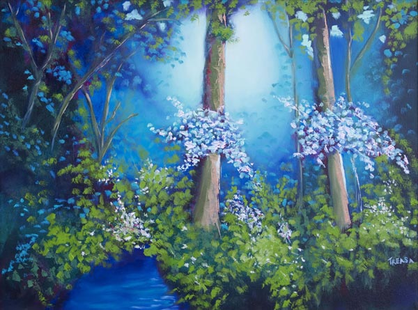 enchanted forest oil painting